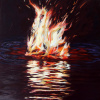 "Flame #7, 12"" x 12"", acrylic on panel   Sold"